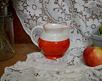 Vintage Red Ceramic Creamer Tea Coffee Service from Czech