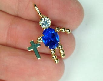 Blue Rhinestone people cross charm, religious charm, sapphire blue rhinestone, religious cross pendant charm, first communion charm (2 pcs)