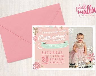 First birthday party invitation - Winter Onederland