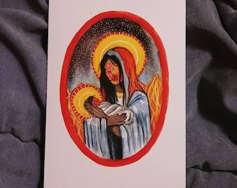 Mother Mary Christmas Card