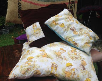 Delightful vintage children's sheets upcycled into cushion set of 3