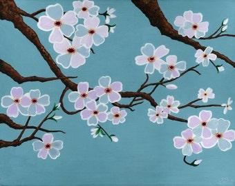 Teal Blue Cherry Blossom Tree Poster Print, teal blue sakura painting, unique teal blue living room sakura apartment wall decor