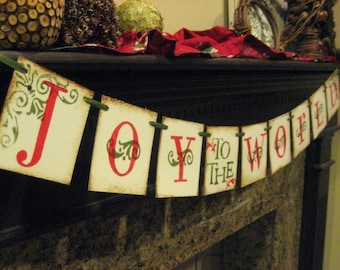 JOY to the WORLD Christmas Banner Garland Sign