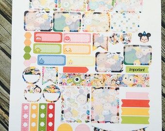 Tsum Weekly Planner Stickers Set, for use with Erin Condren Life Planner, Happy Planner