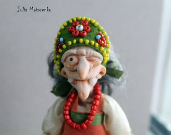 Made to order Miniature Dollhouse Russian Witch Baba Yaga OOAK Doll and OOAK Outfit 12th Scale