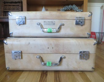 Sweet Wheary Vintage Suitcase Set of 2 Tan with Chrome Trim Hardshell Luggage Vintage Luggage Stacking Luggage