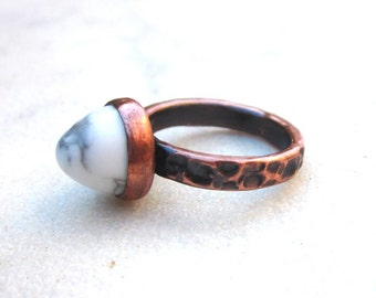Marbled white howlite ring, stone bullet ring, thick hammered copper stone ring, howlite copper ring, modern stack ring, white stone ring