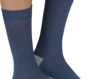 Plain soft bamboo organic crew socks in denim | By seriouslysillysocks