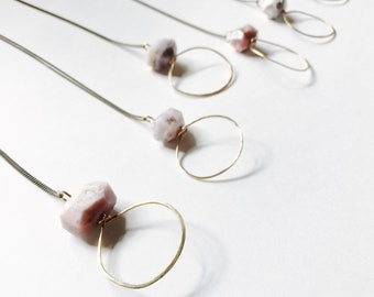 Gaia Pink Opal and Brass Long Layering Necklace