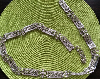 Unique filigree belt 925 sterling silver handmade art and luxury
