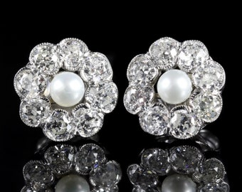 Diamond Pearl Cluster 18ct Gold Earrings