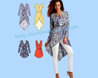 Simplicity 1064 Womens Mock Wrap Tunics 4 Styles size 14 16 18 20 22 Bust 36 38 40 42 44 In K Designs Full Figure Sewing Pattern Uncut FF