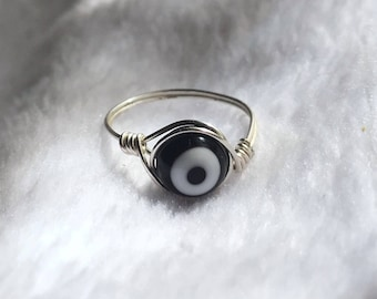 Evil Eye Protection Handmade Wire Wrapped Ring (Silver, Gold, or Copper Available)