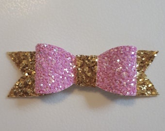 Pink and Gold Small Classic Bow