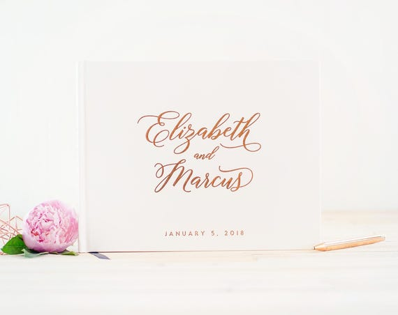 Wedding Guest Book landscape horizontal wedding book with Rose Gold Foil wedding guestbook photo guest book personalized names hardcover
