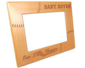 Personalized Baseball Frame - Wood Baby Picture Frame - Custom Baseball Baby Frame
