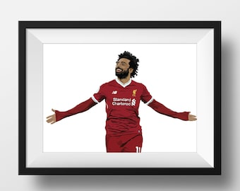 Mohamed Salah Illustrated A3 Poster Liverpool FC Fan Artwork/Champions League/Premier League