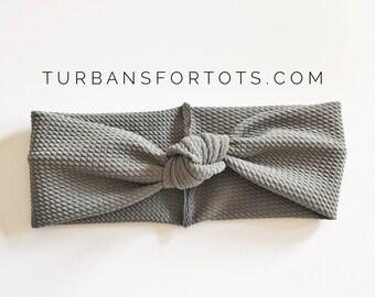 Textured Gray: retro knot baby headband, baby headband, baby turban, newborn turban, infant knot head wrap