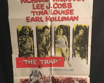 Original 1959 The Trap One Sheet Movie Poster, Richard Widmark, Lee Cobb, Tina Louise, Earl Holliman, Noir Crime