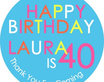 Mod Colorful Happy Birthday 100 Round Glossy Labels