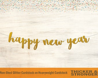 Happy New Year Banner, Cursive Letters - New Years Party, New Years Eve, New Year Banner