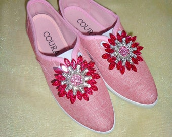 customized shoes, women, pink, sparkle, shine, classy, glamorous, comfortable