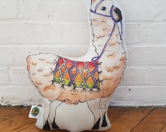 Llama or alpaca (haven't decided yet) adorable throw pillow, stuffed animal