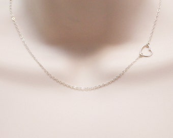 Tiny Heart Necklace, Off Center Charm Necklace, Sideways, Dainty Open Heart, Delicate Necklace, Sterling Silver Jewelry, Gift for Women