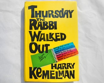 Thursday The Rabbi Walked Out by Harry Kemelman Vintage 1978 Hardcover Book
