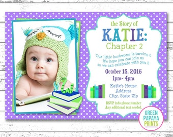 Book Birthday Invitation - Book Themed Birthday - Printable Invitation - Digital File - Book Party - Book Worm - Digital Invitation