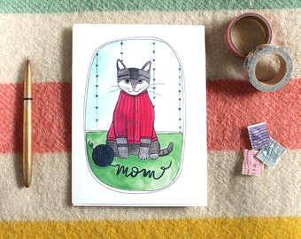 Mothers Day Card - Cat Card for Mom - Gift for Mom - Blank Card for Mom - Funny Card - Fun Card for Mom - Blank Card - Cat Mom