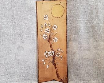 Wall Decor, Painting on Wood,  Pyrography Art, Gift Idea