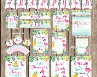 Flamingo Party package personalized, Flamingo Hawaiian Tropical Party package, Flamingo Pool party package, Flamingo Birthday Invitation