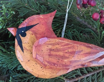 Cardinal (Wood Carved) Ornament Female