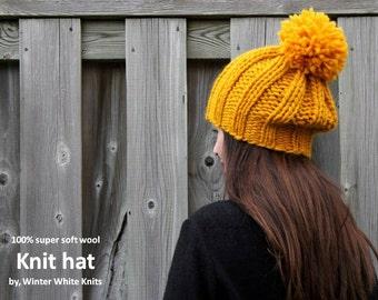 WOOL KNIT HAT, Knit pom pom hat, yellow beanie hat, 100% soft wool hat, knit hat, winter knit hat, pom pom hat, slouchy hat, soft and cozy