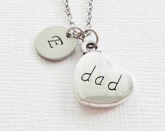 Dad Necklace Dad Heart Necklace Fathers Day Gift Best Friend Gift Birthday Gift Silver Jewelry Personalized Monogram Hand Stamped Letter