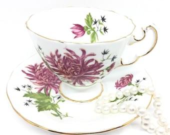 Adderley Pink Chrysanthemums Tea Cup and Saucer, November Flower, Fine Bone China, Birthday Gift