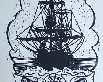 COME SAIL AWAY original hand pulled linocut of ship