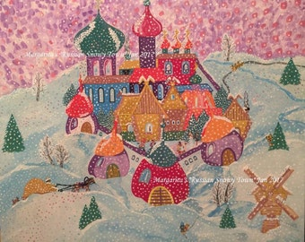 Art naïf Slave «Une ville russe Snowy»
