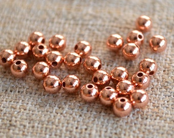 1000pcs Copper Metal Beads Round 3mm Solid Shiny