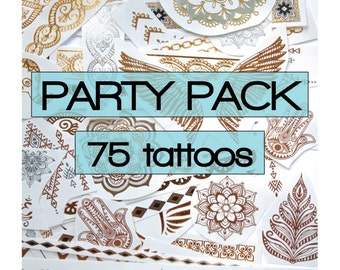 Grab bag of gold, silver metallic tattoos with color highlights, party favors, favours, flash, stick on,  gifts teenager, loot, bachelorette
