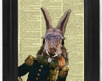 Colonel Rabbit on Antique Dictionary Page, art print, Wall Decor, Wall Art Mixed Media Collage Buy2get1free
