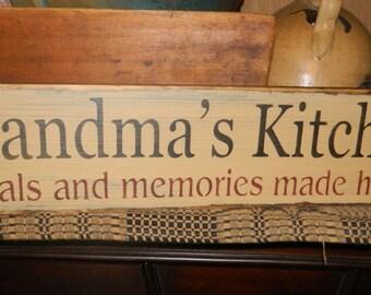 Grandma's Kitchen Primitive Sign