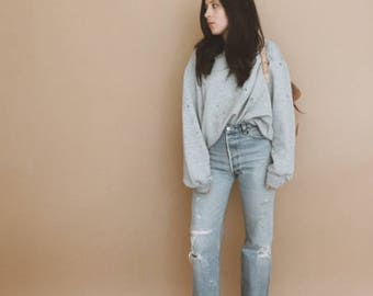 70s GREY RAGLAN SWEATSHIRT // Grey Sweatshirt // Crewneck // Thrashed Sweatshirt // Xs Small Medium