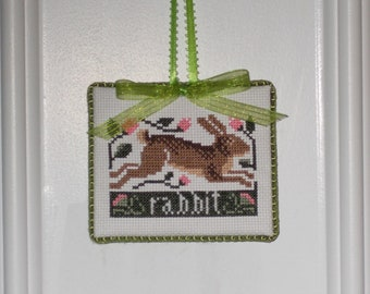 "Finished Cross Stitch ""Rabbit """