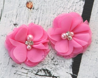2 Pack Pink Pearl Rhinestone Chiffon Flowers, Fabric Flower, Craft Supplies, DIY Flower, DIY supplies, Embellishment