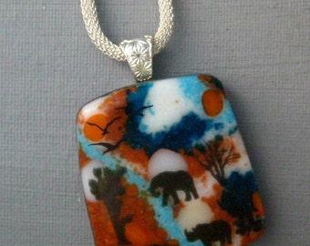 Glass Safari Pendant, Image Pendant, African Inspired Glass Necklace, Square Fused Glass Pendant,  Stone Look Glass Pendant -African Sunset