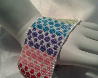 Rainbow Garden Peyote Bracelet Cuff