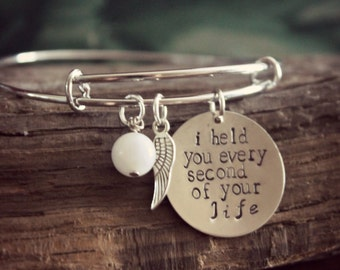 Miscarriage, Remembrance, Memorial, Bangle, I Held You Every Second Of Your Life, Child Loss, Infant Loss, Still Birth,