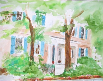 Original Watercolor * MAIN STREET USA * Art by Rodriguez